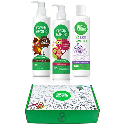 Fresh Monster Kids & Baby Gift Set - Natural, Toxin-Free Shampoo & Conditioner, Body Wash, and Bubble Bath (3 Piece)