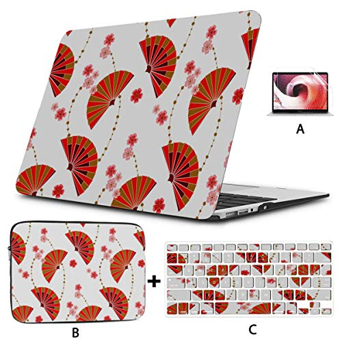 Mac Pro Case Traditional Folding Fan Mac Book Air Covers Hard Shell Mac Air 11'/13' Pro 13'/15'/16' with Notebook Sleeve Bag for MacBook 2008-2020 Version