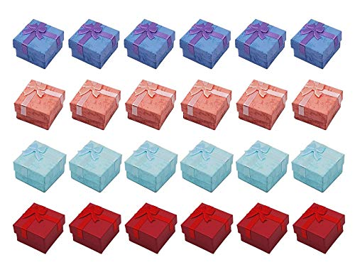"""Colorsheng 24pcs Color Cube Hard Cardboard Small Gift Box for Ring Earring Jewelry(1.6"""" x 1.6"""")"""