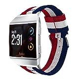 HappyTop 22mm Bracelet de Montre pour Fitbit Ionic, Sport Bracelet en Nylon Bracelet de Montre rayé Patern S Bleu+Rouge