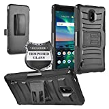Z-GEN - Compatible with Nokia 3.1C (Cricket Wireless), Nokia 3.1A (AT&T) 5.45' 3.1 C / 3.1 A - Phone Case w/Stand/Belt Clip Holster + Tempered Glass Screen Protector - CV1 Black