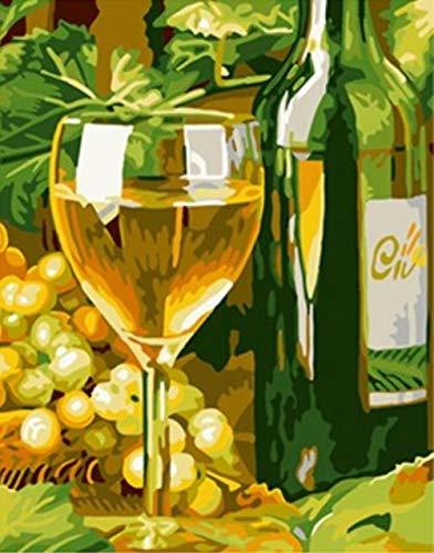 JIAOYK Trauben und Bierglas Stillleben malen nach Zahlen Digitale handgemalte Leinwand Ölgemälde für Wohnkultur 16 × 20 Zoll