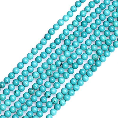 Sweet & Happy Girl\'s store 4mm runde Edelstein-natürlicher Türkis Perlen Strang 15 Zoll Schmuckherstellung Perlen