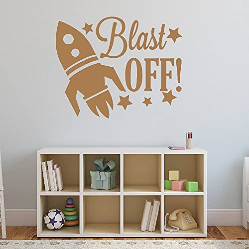 Spaceship Pattern Wall Decal Quotes Blast Off Stars Vinyl Wall Stickers Kids Nursery Rooms Home Decal Headboard Boys Decor other color 57x46cm