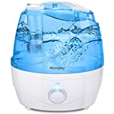 Homasy 2200mL Humidifier Upgraded,Ultrasonic Cool Mist Humidifier with Independent Power Adapter,Quiet & Auto Shut Off Air Humidifier,Blue