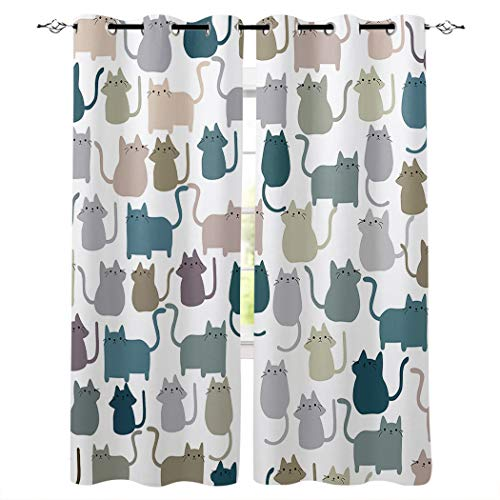 Grommet Window Curtains Cartoon Lovely Cat Print Grommet Top Bedroom and Living Room Curtains, Set of 2 Window Curtain Panels,40 x 63 Inch