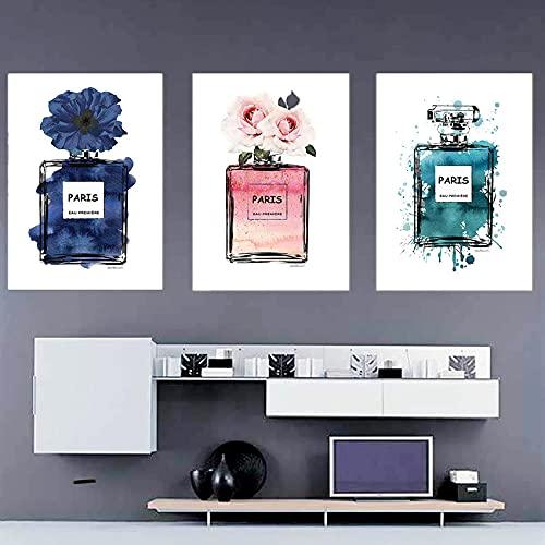 ZLARGEW Nordic Paris Botella de Perfume Pintura en Lienzo Graffiti Abstracto Flor Arte de la Pared Póster Decoración Moderna del hogar Imagen de la Sala de Estar / 30x40cmx3 Sin Marco