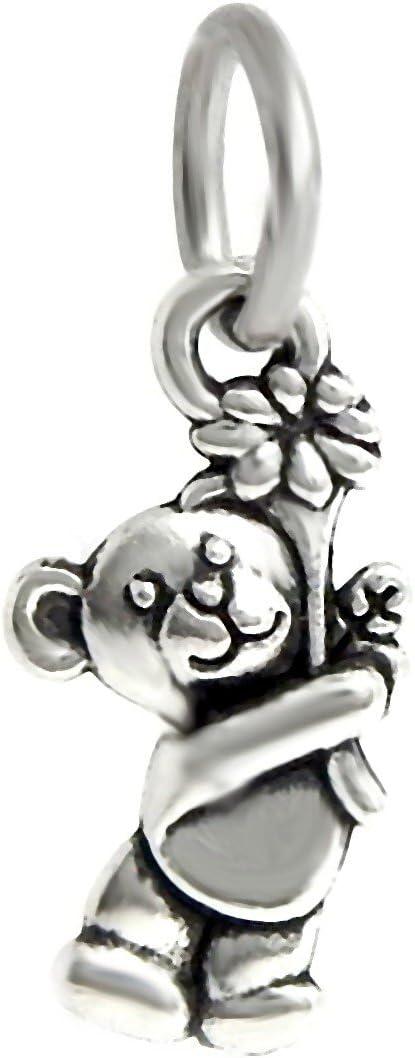 J&M Dangle Teddy Bear with Flower Charm Bead for Charms Bracelets