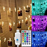 Solhice Color Changing 20 Photo Clips String Lights 10ft, RGB Pictures Display Hangers LED Fairy Lights USB Powered, Remote Control with Timer for Bedroom Wall Party Wedding Decor