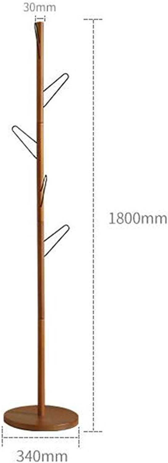 GJM Shop Solid Wood + Wrought Iron Coat Rack Floorstanding Bedroom Clothes Rack Simple and Modern greenical Hanger 34  180cm (color   Brown)