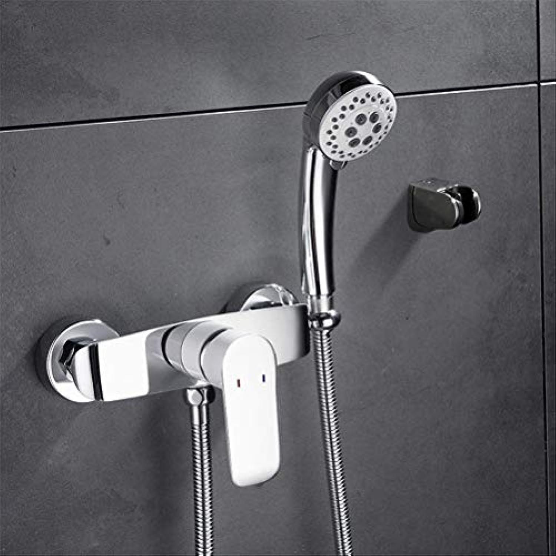 Kupfer Wanne warme und kalte Wasserhhne einfache Duschkopf Booster Düse Feste Unterstützung mit Handbrause Einhand-Duscharmatur, 012