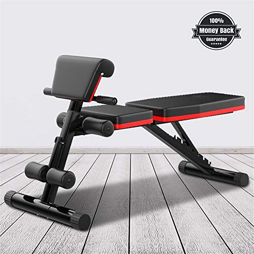 Haoky Weight Bench Adjustable Multifunctional Weight Bench, Foldable Exercise Bench with Adjustable Positions, for Strength Training Core Workout Training/Leg Exercise/Sit Up/Push Up
