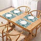 Manteles individuales de cocina fáciles de limpiar, libélula abstractas circulares en espiral flores Chamo, manteles individuales para mesa de comedor lavable, juego de 8