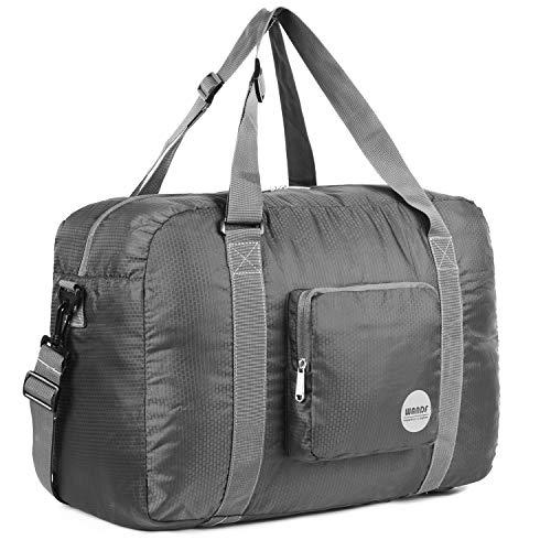 WANDF Leichter Faltbare Reise-Gepäck Handgepäck Duffel Taschen Übernachtung Taschen/Sporttasche für Reisen Sport Gym Urlaub Weekender handgepaeck (A-40L Grau)