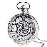 Reloj de bolsillo de bronce de la vendimia de la cubierta hueca de números arábigos esfera de cuarzo reloj de bolsillo colgante collar