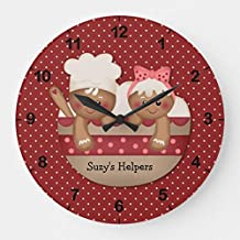 OSWALDO Country Gingerbread Chefs Clock Decorative Round Wooden Wall Clock - 12 inch