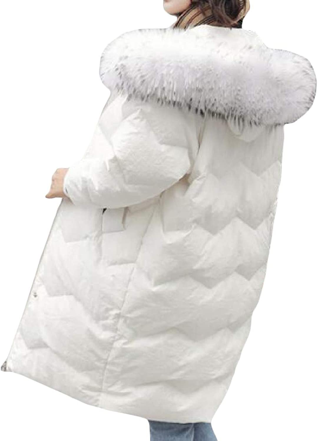 Cromoncent Women's Winter Faux Fur Hooded Puffer Thicken MidLength Parka Jackets Coat