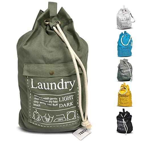 """LAUNDRY BAG Backpack Large Spacious 25""""X20"""" Drawstring Sturdy Cotton Canvas with Strap for College Students Dorm Room Clothes Hamper Storage Washer Organizer (Army Green)"""