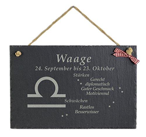 Feiner-Tropfen Schiefertafel mit Gravur 30 x 20 cm groß Sternzeichen Waage Bild
