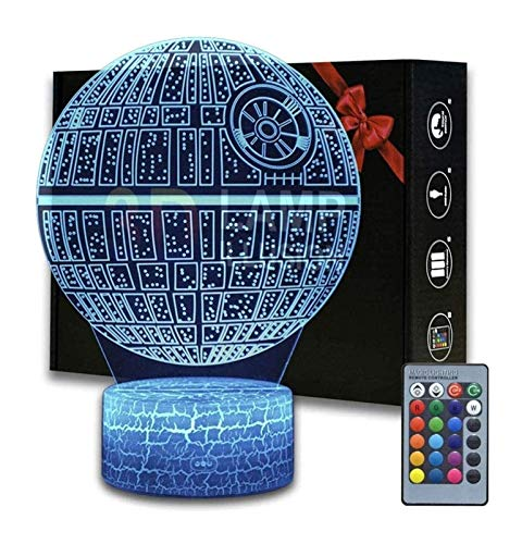 YXX 3D Night Lights for Kids, Toys for Boys,16 Colors Change Touch and Remote Control LED Table Desk Lamp with USB Decorative Remote for Boys Girls Bedroom Birthday Gift (Color : Death Star)