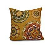 E by design - Almohada (50,8 x 50,8 cm), diseño geométrico, Color Amarillo