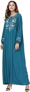 LJMSL Abayas Elegant Embroidery Floral Maxi Dress Vintage Abaya Kimono Urban Long Robe Gowns Loose Islamic Clothing Loose ...
