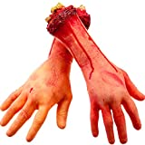 Gejoy 2 Pack Fake Human Severed Arm Hands Terror Bloody Dead Body Parts Decorations for Halloween Parties and Cosplay