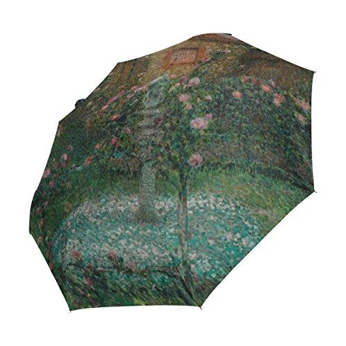 Ahomy Art - Paraguas Plegable con 3 Flores para jardín Monet, Pintura al óleo, Resistente al Viento, Resistente a los Rayos UV, para la Lluvia, para Abrir y Cerrar automáticamente