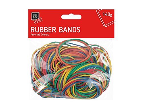 250 Strong Elastic Rubber Bands Assorted Colours 140g