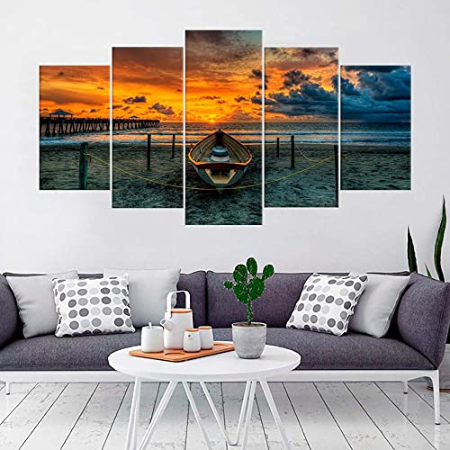 KOPASD 5 Piezas Pintura De Pared Sala De Estar De Arte Barco Paisaje Marino Paisaje HD Print De Decoración para El Hogar para (Enmarcado Tamaño 150x80cm)