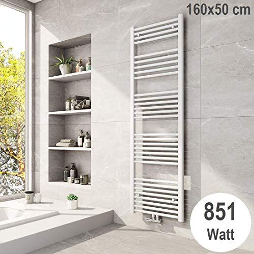 Meykoers Badheizkörper 1600x500mm Mittelanschluss Weiß 851 Watt, Handtuchtrockner Handtuchwärmer Design Heizkörper für Bad Heizung Radiator