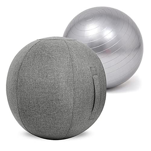 LYQCZ Funda para Pelota De Yoga,Pelota De Ejercicio para Yoga Y Pilates Fitball En DiáMetros De 55/65/75 Cm,con TecnologíA Anti ExplosióN,Antideslizante Y con Inflador(Color:Gray Gray,Size:55cm)