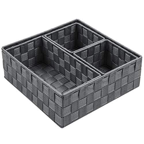 Posprica - Caja de almacenamiento tejida con compartimentos para cajones, armarios, estantes y aparadores