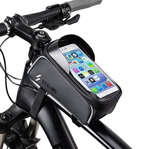 OUNDEAL Borsa Bici Telaio, Porta Telefono Bici Impermeabile, Borsa Telaio Bici con TPU Touch Screen, Accessori Bici, Porta Cellulare da Bici per 6.5 Pollici Telefono