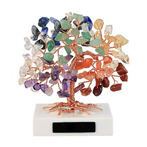 JOVIVI 3.54'-4.7' Mini Natural 7 Chakra Healing Crystals Money Tree Tumbled Gemstones Bonsai Fortune Tree on Marble Base Feng Shui Ornaments for Good Luck, Wealth Home Office Decor Spiritual Gift