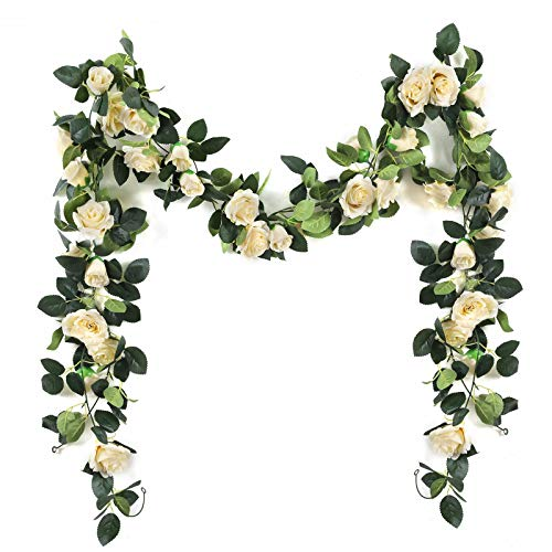 Nanhiking Artificial Vine with Flowers Indoor 2Pack Fake Silk Rose Hanging Garland Flower Hanging Decorations for Outdoor Wedding Party Wall(Beige, 2)