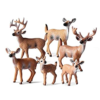 6 Pcs Deer Figurines White-Tailed Deer Family Figurines Cake Toppers for Baby Shower&Birthday Party
