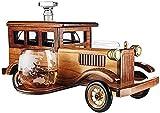 hermosa Whisky Decanter Whiskey Glasses Whiskey Decanter Set Regalo 1000ml con 2 gafas de cristal de piedras de whisky y soporte antiguo de coche vintage de moda - Whisky set para hombres, usados pa
