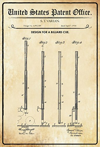 Schatzmix United States Patent Office - Design for a Billiard Cue - Entwurf für EIN Billardstock - Varian, 1914 - Design No 1.092.189 - Blechschild