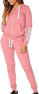 Dreamyth-Winter 2Pcs Women Tracksuit Casual Stripe Zipper Long Sleeve Pullove Sport Tops+Long Pants Set