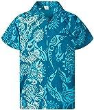 Funky Camisa Hawaiana, Manga Corta, Maori Wedding, Turquesa, XL