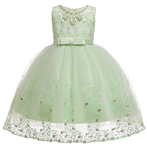 E-girl Abito da bambina in pizzo con fiori e fiori, per feste di compleanno, C863 verde 110 cm