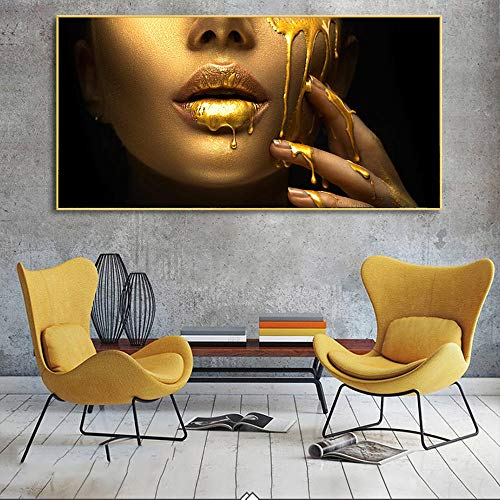 SADHAF Golden Pretty Woman Half Face Print Painting Home Living Room Decoration A5 60x90cm