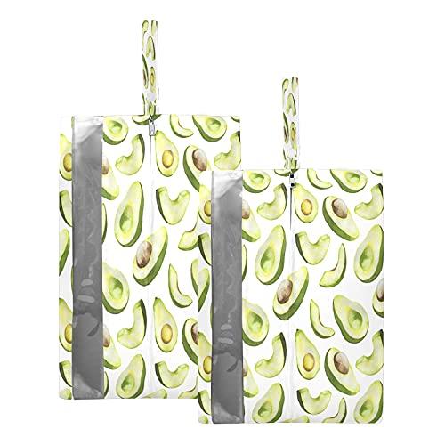 F17 - Bolsas de viaje para zapatos con estampado de aguacate y frutas, bolsa de almacenamiento, impermeable, portátil, ligera, para viajes, bolsa de almacenamiento para hombres y mujeres, 2 unidades