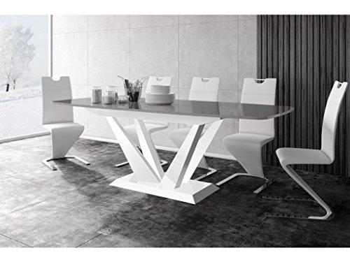 H MEUBLE Table A Manger Design Extensible 160÷260 CM X P : 89 CM X H: 75 CM – Gris/Blanc