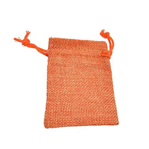 10 piezas Mini arpillera yute con cordón bolsas de joyería bolsas bolsa rústica de Navidad-7x9cm naranja