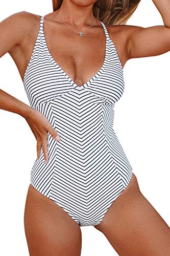 CUPSHE Women's Simple Living Stripe One-Piece Swimsuit Bathing Suit (Small (USA 4/6), Black White)