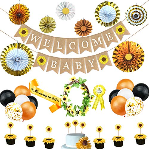Sunflower Baby Shower Decorations Supplies Kit, Baby Shower Party Decorations for girl or Boy Sunflower theme, Sunflower Welcome Baby Banner, Cupcake Toppers, Paper Fans, Sunflower garland, Sunflower theme latex balloon, Sash, Daddy to be pin