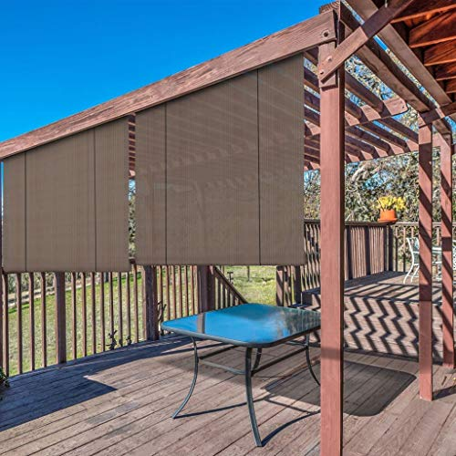 Windscreen4less Exterior Roller Shade Outdoor Patio Roll Up Shade Blinds for Porch Pergola Deck Backyard 6' W x 6' L Brown
