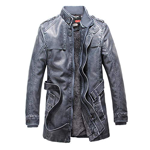 Men's Jacket Hoodie Cardigan Hooded Pullover Vintage Retro plus velvet mid-length-blue _L